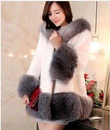 Wholesale Cheap Black Overcoats - 6XL Cheap Mink Fur Coat Hooded Long Design Women Winter Jacket Plus SIze 2016 Artificial Raccon Rabbit Overcoat White Black H2 manteau