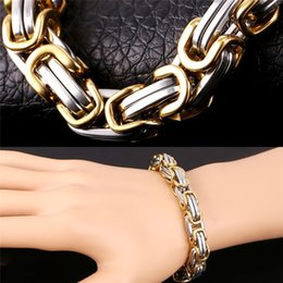 Wholesale Real Hip Hop Chains - U7 Men Punk Black Chunky Chain Bracelet for Men 18K Real Gold Plated Stainless Steel Bracelet Jewelry Hip Hop Fashion GH1149