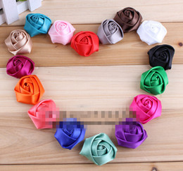 "Wholesale Mini Rosettes For Headbands - 15% off new 2015 1.5""16 Colors Flat Back Mini Satin Ribbon Rose Flower Accessories Handmade Rolled Rosettes For Hair Clip Or Headband 240pcs"