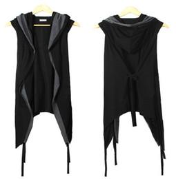 Тонкий черный пояс онлайн-Осень-2 новых мужчин жилет черный с капюшоном пояса без рукавов летом тонкий кардиган мода ночной клуб костюмы открытым стежком черный жилет
