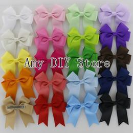 Wholesale Hair Clips Little Girl Ribbon - Free Shipping!40pcs lot Little Girls' Grosgrain Ribbon Hair Bows, Pinwheel Cheer Bows WITH Hair Clips,Kids Hair Accessories HJ045+4.5cm