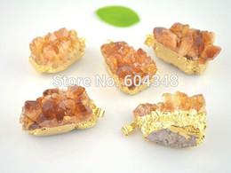 Wholesale Topaz Pendants Wholesale - crystal luxury Crystal Shiny 5 pcs Natural Topaz Quartz Geode Druzy Pendant, Gold plated Topaz Crystal Drusy Gem stone Pendants for charm ne