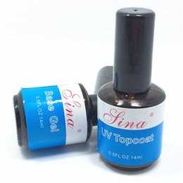 Wholesale Acrylic Glazes - Wholesale-2Pcs  Set 14ml Top Coat Seal Glue Base UV Gel Acrylic Nail Art Polish Gloss Seal Glaze Faster Primer Topcoat Gloss Free Shipping