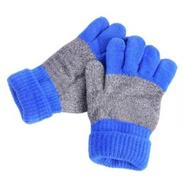 Wholesale Cashmere Knit Gloves - Wholesale- New Winter Warm Gloves Kids Mittens Five Finger Wrist Knitted Gloves School Gloves