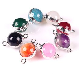 Wholesale Gemstone Connector Beads - Mixed Random Color Silver Plated 12mm Natural Stone Faceted Agate Gemstone Round Ball Beads Pendants Connectors with two loops For Necklace