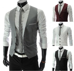 Wholesale Mens Brown V Neck Vest - Men Vests Outerwear Groomsmens vest 2015 Korean Slim Fit Stylish Short Coats Suit Blazer Jackets Coats wedding Mens V-neck vest
