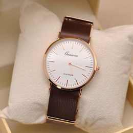 Wholesale Geneva Dress - Free shipping New Geneva brand men High Quality Watch Leather Wrist Watches TGJW728 party dress gift watch