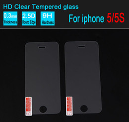Wholesale Screen Protectors For Iphone5 - Iphone5 5s Tempered Glass Screen Protector for iphone 4 4s Film 0.26mm 2.5D 9H Explosion proof without retail box 200 PCS