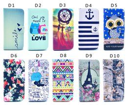 Wholesale Iphone 5c Flip Leather Cases - Owl Flower Elephant Tower 3D Printed flip Wallet Leather Pouch stand Case For For iphone 5S 5C 6S i6 plus S4 S5 S6 edge note4 80 kinds style