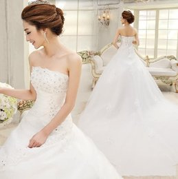 Wholesale Sexy Wedding Dress Costumes - 2015 Wedding Dresses Free Shipping New Arrival A-Line Satin Court Train Bridal Wedding Dress,Wedding Gown halloween costumes bridal gowns