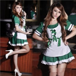 Wholesale Lovely Underwear Sex - w1028 Green High quality Lovely Maid clothing COSPLAY Sexy lingerie women costumes Sex Products toy Sexy underwear pajamas Role play