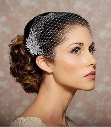 Wholesale Crystal Fascinators For Hair - Hot Sale Vintage Beach wedding Veils Birdcage Veils Beaded Beautiful 2016 Cheap Short Veils for Bridal