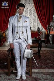 Wholesale Men Suit Design Embroidery - 2015 Italian Design Suit Embroidery Wedding Suit for men Stand Collar Mens Suits Bridegroom One Button three piece suit (Jacket+Pants+vest)
