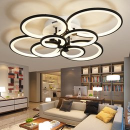 Wholesale Wedge Rings - Dimmable Remote Control Living Study Room Bedroom Modern Led Chandelier Light White Black 4 6 8 Rings Surface Mounted Led Chandelier Fixture