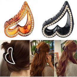 Wholesale Black Crystal Rhinestone Hair Jewelry - 12pcs Lot New Lady Heart Shape Black Crystal Rhinestone Claw Hair Clip Hairwear Clamp Women Hair accessories Jewelry Free Ship