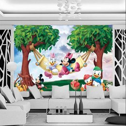 Wholesale Minnie Wallpaper - Cute Mickey & Minnie Photo Wallpaper Cartoon Wall Mural Custom Wallpaper Kids Boys Girls Children's room Art Room Decor Bedroom Living room