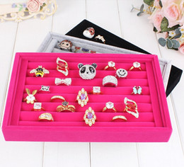 Wholesale Wooden Ring Jewelry Box - Free shipping 2pcs lots Jewelry Display Rings Organizer Show Case Holder Box New red Ring Storage Ear Pin Accessories box