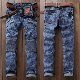 Wholesale Hiphop Jeans For Men - Wholesale- 2017 Hi-Street Mens Biker Jeans Motorcycle Slim Fit Washed Men Runway Slim Snowflake zipper Jeans Strech Hiphop Jeans For Men