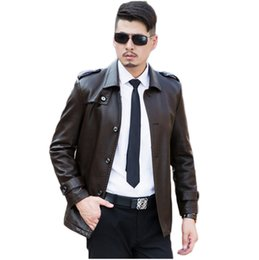 Wholesale real leather jacket men - Fall-2016 New High Quality Black Brown Color Regular Length Men Leather Jackets Casual Coats Real Image in Stock Size M L XL XXL