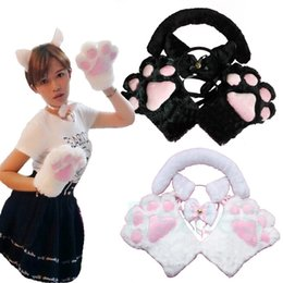 Wholesale Cat Ear Tail - Wholesale-Hot Sale Cartoon Gloves   Cute Ear Wearing Sexy Flutty Cat Maid Cosplay Neko Anime Costume Plush Gloves Paw Ear Tail Party