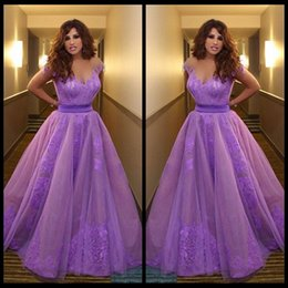 Wholesale Violet Gowns - 2015 Inspired by Najwa Karam Celebrity Dresses Saudi Arabia Dubai Appliques Purple Violet Evening Formal Gowns Vestidos