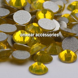 Wholesale Color Citrine Rhinestone - ss3 (1.3-1.4mm) citrine color flat back glue on nail art crystal glass glitter rhinestones