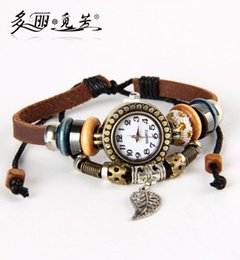 Wholesale Wholesale Bangle Cuff Watches - Wholesale-Luxury Women Dress Leather Watch Casual Leaf Wing Butterfly Owl Dolphin Charms Pendant Bangle Watch Bracelet For Girls 19 Style
