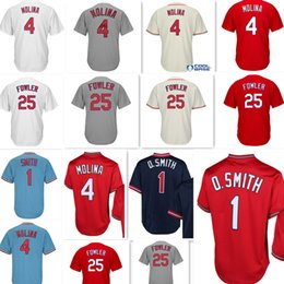 Wholesale Molina Baseball - stitched #25 Dexter Fowler 4 Yadier Molina Jersey Cheap Retro Mesh 1 Ozzie Smith 4 Yadier Molina Baseball Jerseys wholesale