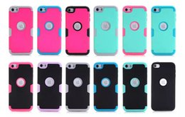 Wholesale Color Pc Case - For Apple Ipod Touch 5 6 Touch6 Touch5 Armor Case Impact Hard PC + Silicone Gel Combo Hybrid 3 in 1 Heavy Duty Dual Color Rubber skin Luxury