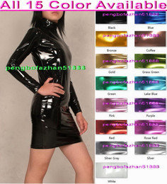 Wholesale Sexy Club Dresses Metallic - Sexy Women Dresses New 15 Color Shiny Lycra Metallic Dress Sexy Women Skirt Party Dresses Halloween Party Fancy Dress Cosplay Suit P104