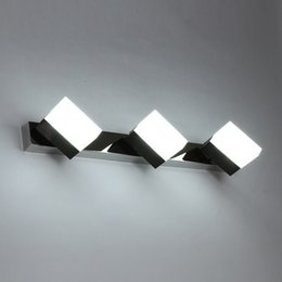 Wholesale Switch Rotate Light - LED Mirror Light Acrylic Bathroom Light Rotating Dresser Bedside Lamp LED Mirror Lamp Bathroom Make up Room Bedroom Mirror Front Wall Lamps