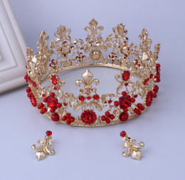 Wholesale Make Drop Earrings - Luxury Bridal Jewelry Earring Crown Rhinestone Crystal Red And White Baroque High Quality Custom Made Free Shipping In Stock Cheapest ZYY