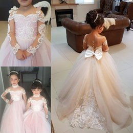 Wholesale Lace Pearl Choker - 2018 New Lovely Pink Tulle Long Sleeves Weddings Flower Girl Dresses with Choker Bowknot Lace Applique Beaded Pearls Girls Pageant Dresses