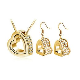 Wholesale Good Luck Crystal Necklace - Newest Double Heart Necklace Earrings Sets Be In Good Luck Eternal love Jewelry Sets For Women 8092