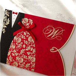 Wholesale Ribbon Wedding Invites - Red Black Gold Printing Couple Wedding Invitations Cards with Ribbon Personalized Printing Bridal Invites Convites De Casamento 50sets