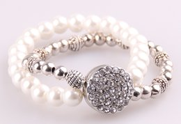 Wholesale Double Pearl Bracelets - Free shipping new arrive Fashion pearl &CZ stone noosa chunks metal button Bracelet glass pearl beads double row alloy Bracelet
