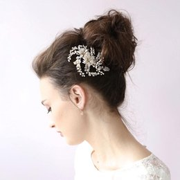 Wholesale Rhinestone Hair Accessories For Wedding - Sliver Gold Pearls Mini Top Hair Comb Wedding Party Hair Accessories 2 Colors Wedding Tiara For Bridal Wedding Party CPA451