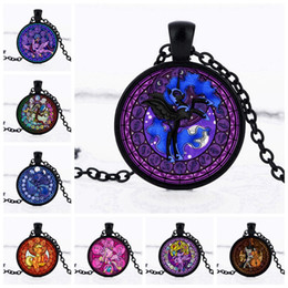 Wholesale Kids Animal Necklaces - 1pcs lot Retail American movie jewelry My Little Ponies Handmade Round glass cabochon Pendant Necklace Kids Party toys Gift Wholesale