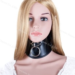 Wholesale Luxury Chastity Belts For Women - Black new luxury pu leather bondage female neck collar neck ring , sex toys for women, chastity devices belt