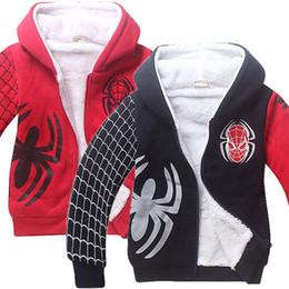 Wholesale Spiderman Jackets - Winter New Baby Kids Boys Warm Long Sleeve Spiderman Hoodie Hooded Jacket Coat 2 Colour 6 Size