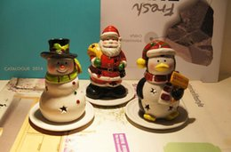 Wholesale Ceramic Furnishing Articles - Christmas Gift Christmas snowman penguins with tray ceramic candlestick furnishing articles Decorations 2016 New Style