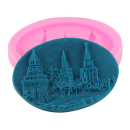 Wholesale Castle Mold - Castle Model Mold for Fondant Sugar Chocolate Jelly Soap Cake Decorating Tools Silicone Cake Mold Non-Stick Free Shipping CT308