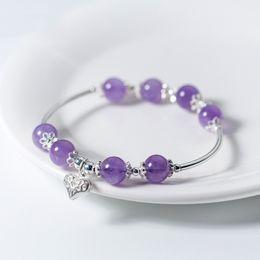 Wholesale Invisible Han - jarry234 925 silver bracelet Female han edition Sweet hollow out love natural Amethyst: Joker bracelet Jewelry wholesale