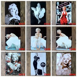 2019 marilyn monroe pittura sexy Sexy Lady of Marilyn Monroe Vintage Metallo Targhe in metallo dipinto Home Decor Wall Art Craft Sticker Bar 20x30cm marilyn monroe pittura sexy economici