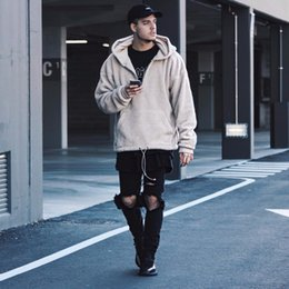 Dio peluche online-Fear Of God FOG aperto Stitch peluche Cardigan Jacket Coat Hiphop Hooded Hoodies Giacche cappotto in pile M-XL dongguan_wholesale