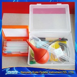 Wholesale Box Experiment - Freeshipping Microscope Accessories Kit Biology Science Experiment Sets Box Microscope Slides Cover Slip 11pc Box