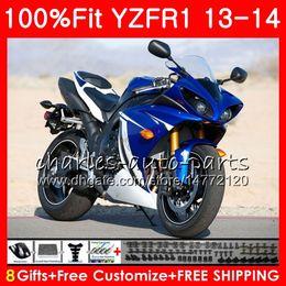 Cuerpo de inyección para YAMAHA azul negro YZF 1000 YZF R 1 YZF-1000 YZF-R1 13 14 86NO13 YZF1000 YZFR1 13 14 YZF R1 2013 2014 Kit de carenado 100% Fit desde fabricantes