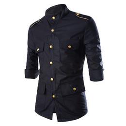 Wholesale Quarter Sleeve Shirts - 2016 New Arrival Men's Shirts Boutique Leisure Pure Cotton Military Uniform Style Three Quarter Shirt Lapel Slim Shirt 13M0332