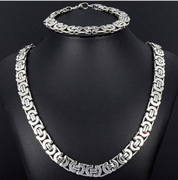 Wholesale Stainless Necklace 8mm - New Style Jewlery Set 8mm Silver Tone Flat byzantine chain necklace & bracelet 316L Stainless Steel Bling for Fashion mens XMAS Gift jewelry