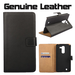 Wholesale Optimus Cover - For LG Leon Spirit Optimus G Pro2 F350 Flip Real Genuine Leather Wallet Phone Case Cover with Card Slot Holder Money Pocket Pouch
